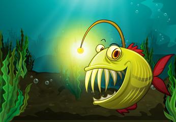 Wall Murals Submarine monster fish in water