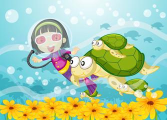 Wall Murals Submarine tortoise and girl in water
