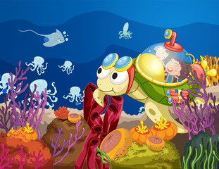 Poster Submarine tortoise carrying kids