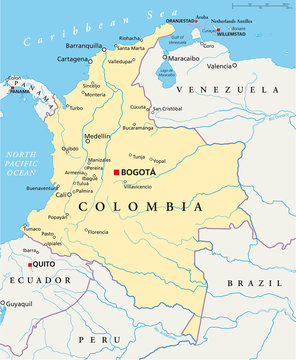 Colombia political map with capital Bogota, national borders, most important cities, rivers and lakes. Illustration with English labeling and scaling. Vector.