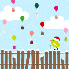 Green Bird Fence Flying Balloons Christmas Gifts Blue