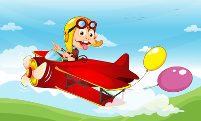 Poster Airplanes, balloon Monkey in a plane