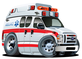 Vector Cartoon Ambulance Car