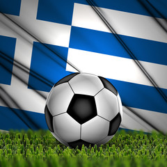 soccer ball on grass on National Flag. Country Greece