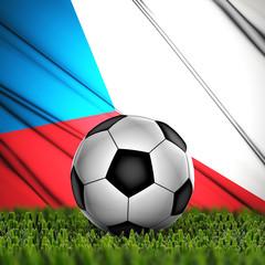 soccer ball on grass on National Flag. Country Czech Republic
