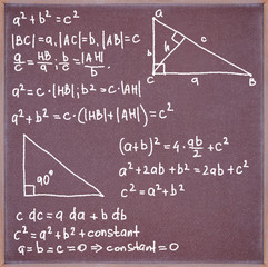 Blackboard with formulas and equations.