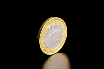 rear of one spanish euro coin isolated