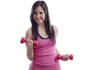 Young beautiful woman working out with dumbbells