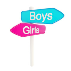 Boys and girls road sign signpost
