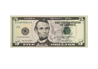 American five dollar banknote isolated over white Fotomurales