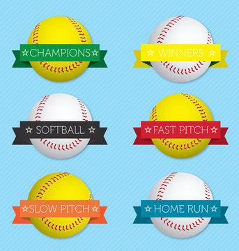 Vector Set: Softball Banner Labels