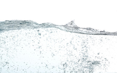 Waves of water with lots of bubbles, over white