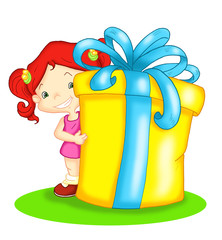 bambina con regalo