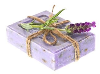 closeup of lavender soap and fresh flower