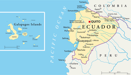 Ecuador and Galapagos Islands political map with capital Quito, with national borders, most important cities, rivers and lakes. Illustration with English labeling and scaling. Vector.