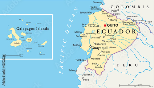 Ecuador and galapagos islands political map with capital quito ecuador and galapagos islands political map with capital quito with national borders most important gumiabroncs Choice Image