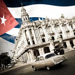 Fotorolgordijn Rood, zwart, wit Cuba