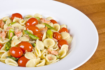 Cooked Pasta with Smoked Wild Salmon and Vegetables