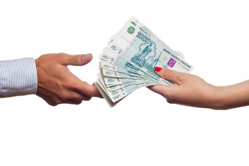 Russian money transfer from hand to hand.