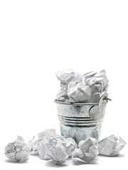 Waste basket with crumpled papers