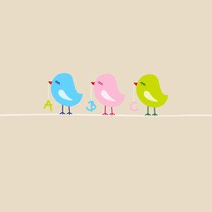 3 Birds With ABC First Day Of School