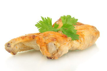 roasted chicken wings with parsley isolated on white