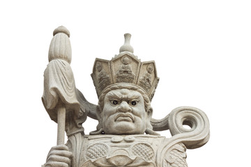 Chinese god statues on white background