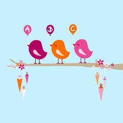3 Birds Pink/Orange Balloons ABC Tree Cones Blue
