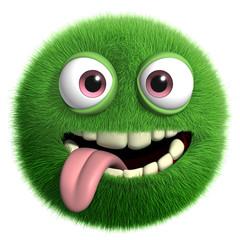 Foto auf AluDibond Nette Monster green furry monster