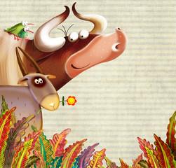 cartoon farm animals group/farm background