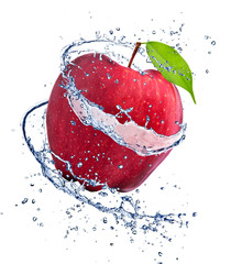 Foto op Canvas Opspattend water Red apple with water splash, isolated on white background