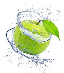 Garden Poster Splashing water Green apple with water splash, isolated on white background