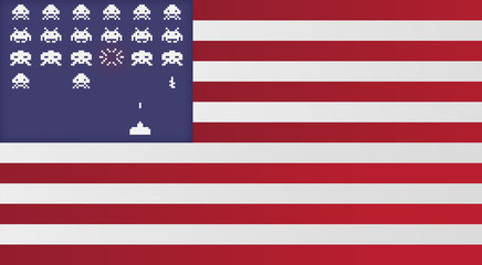 Flagge USA *** Space Invaders