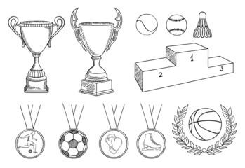 championship items vector set