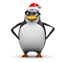 3d Penguin in glasses wears silly Santa hat