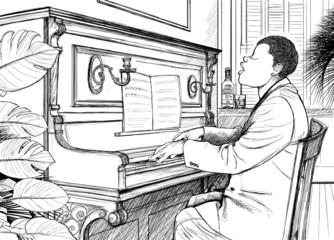 Etiqueta Engomada - Ragtime pianist
