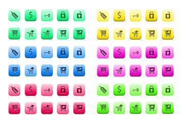 Plaquette d'icônes internet et bureautique