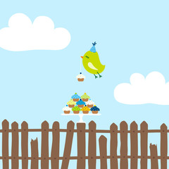 Flying Green Bird 10 Cupcakes Fence Blue