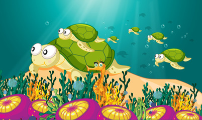 Wall Murals Submarine tortoise in water