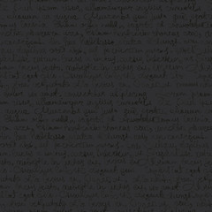 Seamless abstract text pattern on dark gray background. Vector,