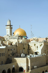 Dome of The Rock and  Ghawanima Minaret from Western Wall Jerusa