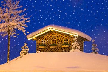 ski hut in winter christmas