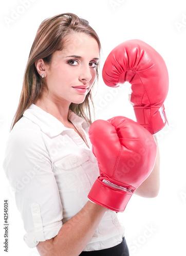 femme avec gants de boxe photo libre de droits sur la. Black Bedroom Furniture Sets. Home Design Ideas