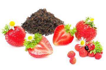 Herbal black tea with strawberry on white background