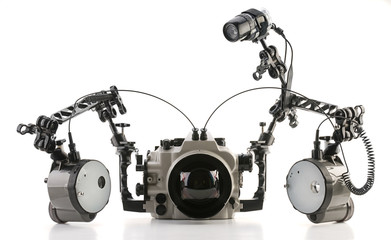 Underwater camera housing with strobes isolated on white