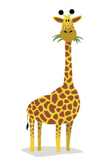 A cute, tall cartoon giraffe eating grass