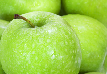 close up on green apples