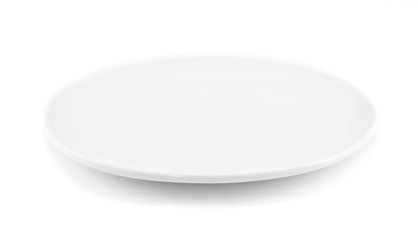 White empty plate ( oval dish ) over a white background.