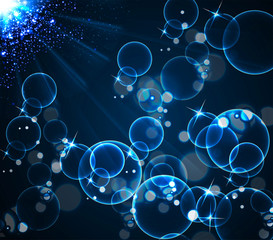 Blue bubbles and light illustration background
