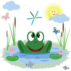 Frog is in the pond